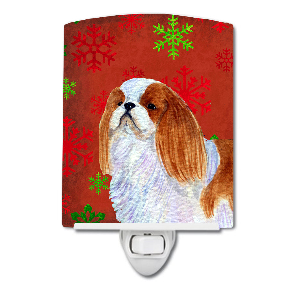 Buy this English Toy Spaniel Red and Green Snowflakes Holiday Christmas Ceramic Night Light SS4714CNL