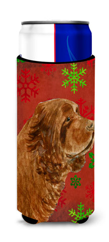 Buy this Sussex Spaniel Red Green Snowflake Holiday Christmas Ultra Beverage Insulators for slim cans SS4717MUK