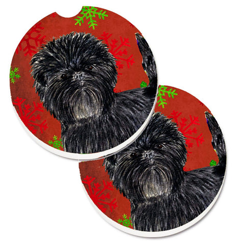 Buy this Affenpinscher Red Green Snowflakes Christmas Set of 2 Cup Holder Car Coasters SS4718CARC