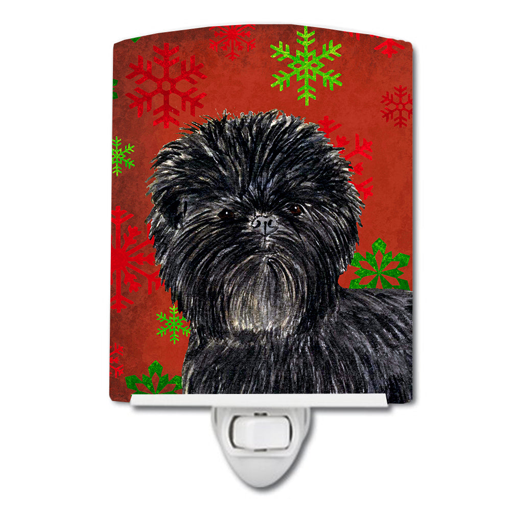Buy this Affenpinscher Red Green Snowflakes Christmas Ceramic Night Light SS4718CNL