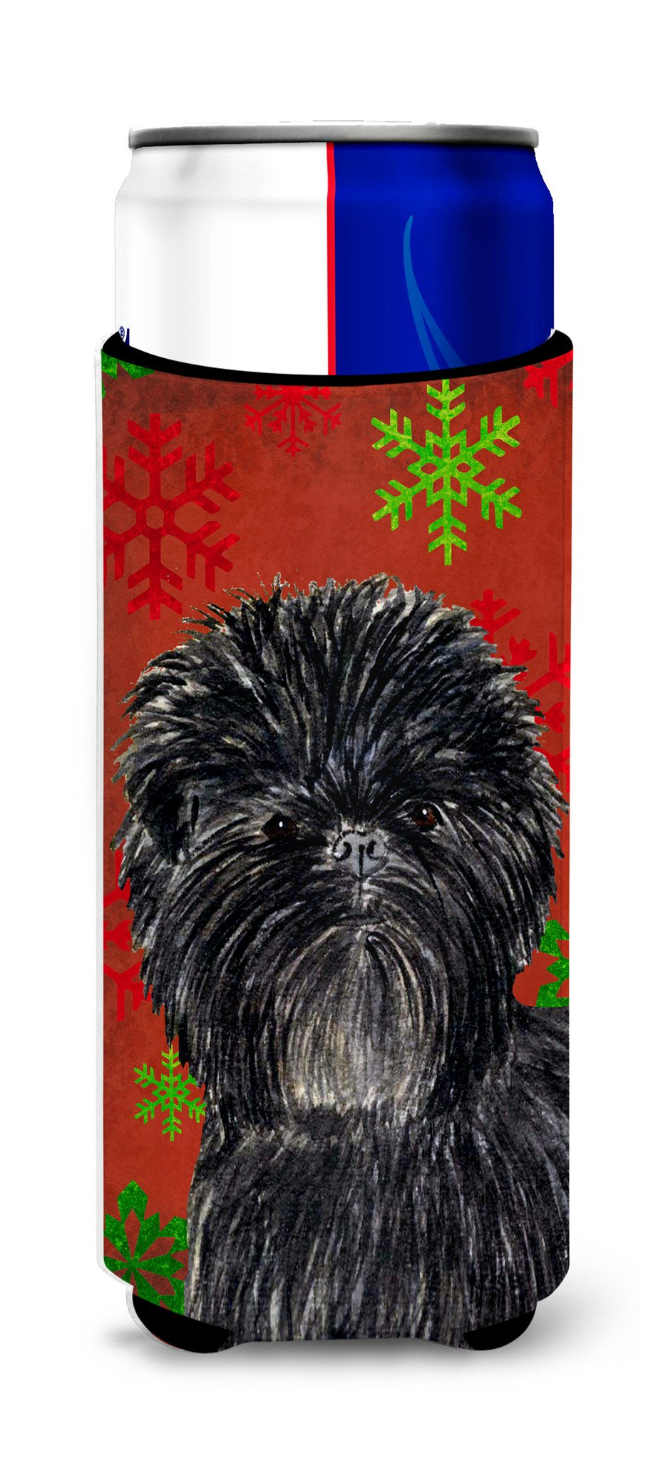 Affenpinscher Red Green Snowflakes Christmas Ultra Beverage Insulators for slim cans SS4718MUK by Caroline's Treasures
