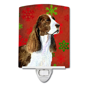 Buy this Springer Spaniel Red and Green Snowflakes Holiday Christmas Ceramic Night Light SS4720CNL