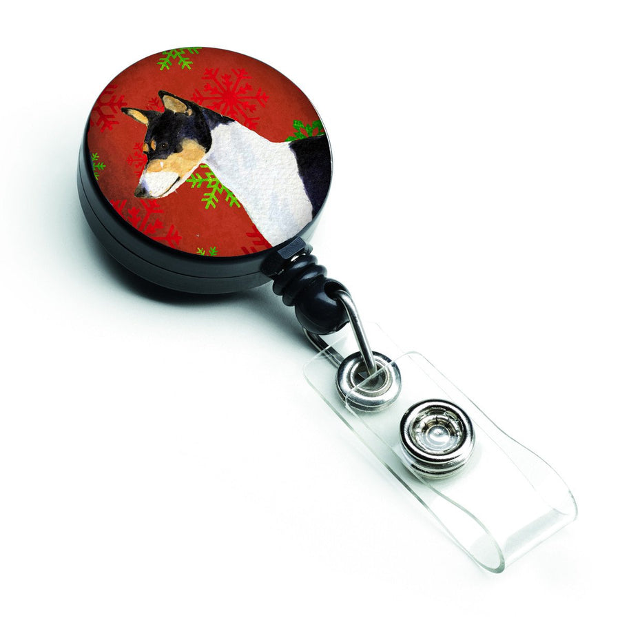 Buy this Basenji Red and Green Snowflakes Holiday Christmas Retractable Badge Reel SS4721BR