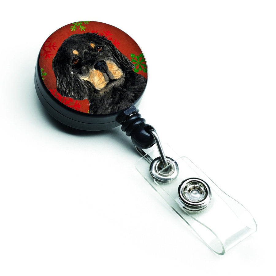 Buy this Gordon Setter Red Green Snowflakes Christmas Retractable Badge Reel SS4722BR