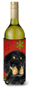 Buy this Gordon Setter Red Green Snowflakes Christmas Wine Bottle Beverage Insulator Beverage Insulator Hugger