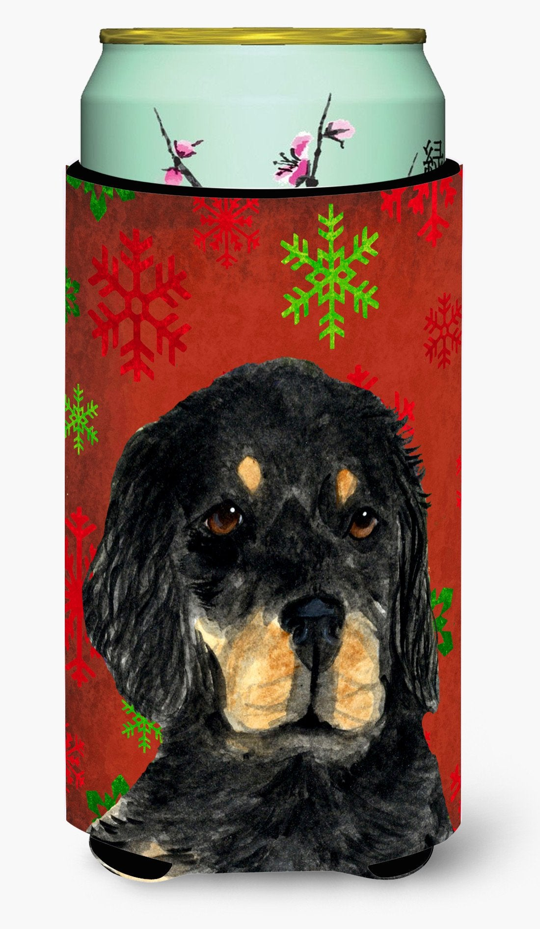 Gordon Setter Red Green Snowflakes Christmas  Tall Boy Beverage Insulator Beverage Insulator Hugger by Caroline's Treasures
