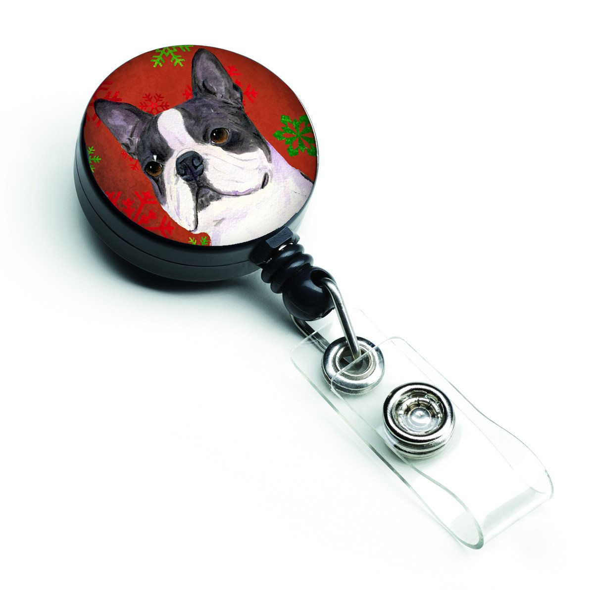 Boston Terrier Red Green Snowflakes Christmas Retractable Badge Reel SS4723BR by Caroline's Treasures
