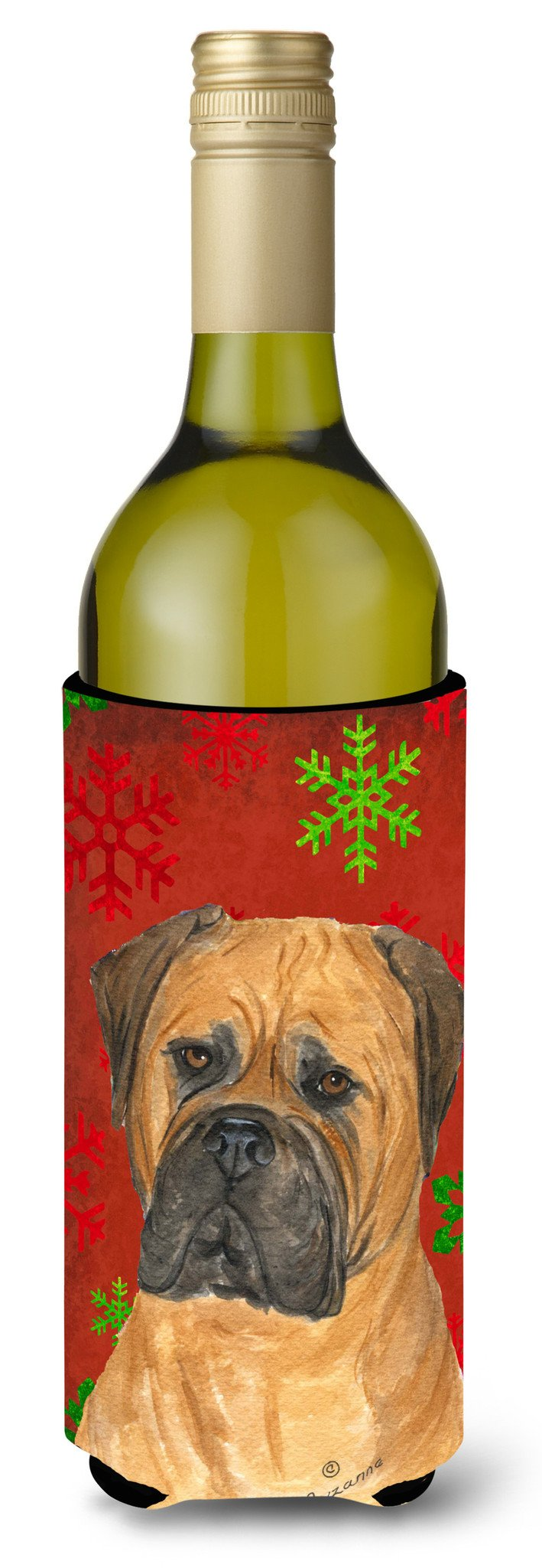Bullmastiff Red and Green Snowflakes Holiday Christmas Wine Bottle Beverage Insulator by Caroline's Treasures