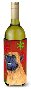 Buy this Mastiff Red and Green Snowflakes Holiday Christmas Wine Bottle Beverage Insulator