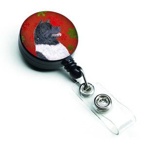 Buy this Akita Red and Green Snowflakes Holiday Christmas Retractable Badge Reel SS4728BR