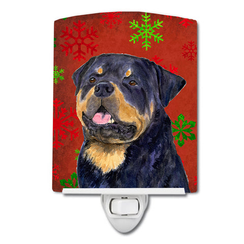 Buy this Rottweiler Red and Green Snowflakes Holiday Christmas Ceramic Night Light SS4731CNL