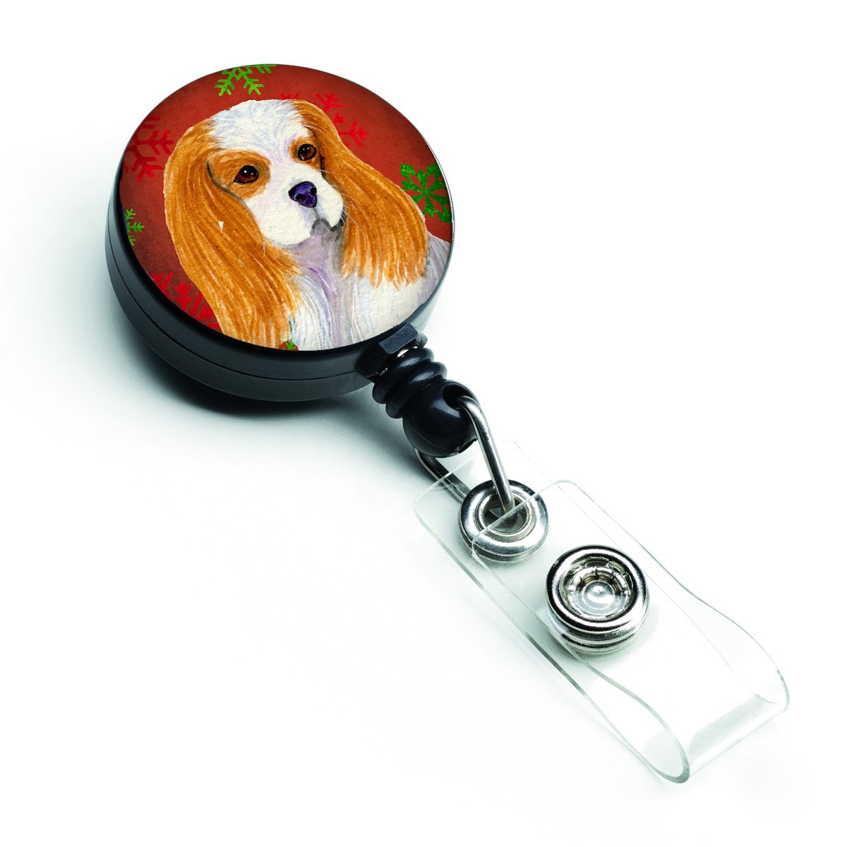 Cavalier Spaniel Red and Green Snowflakes Holiday Christmas Retractable Badge Reel SS4734BR by Caroline's Treasures