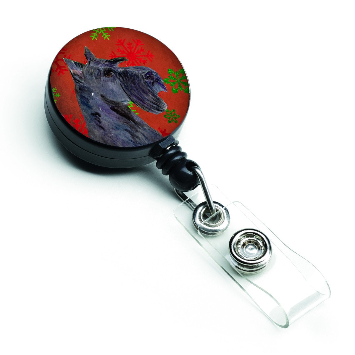 Scottish Terrier Red and Green Snowflakes Holiday Christmas Retractable Badge Reel SS4736BR by Caroline's Treasures