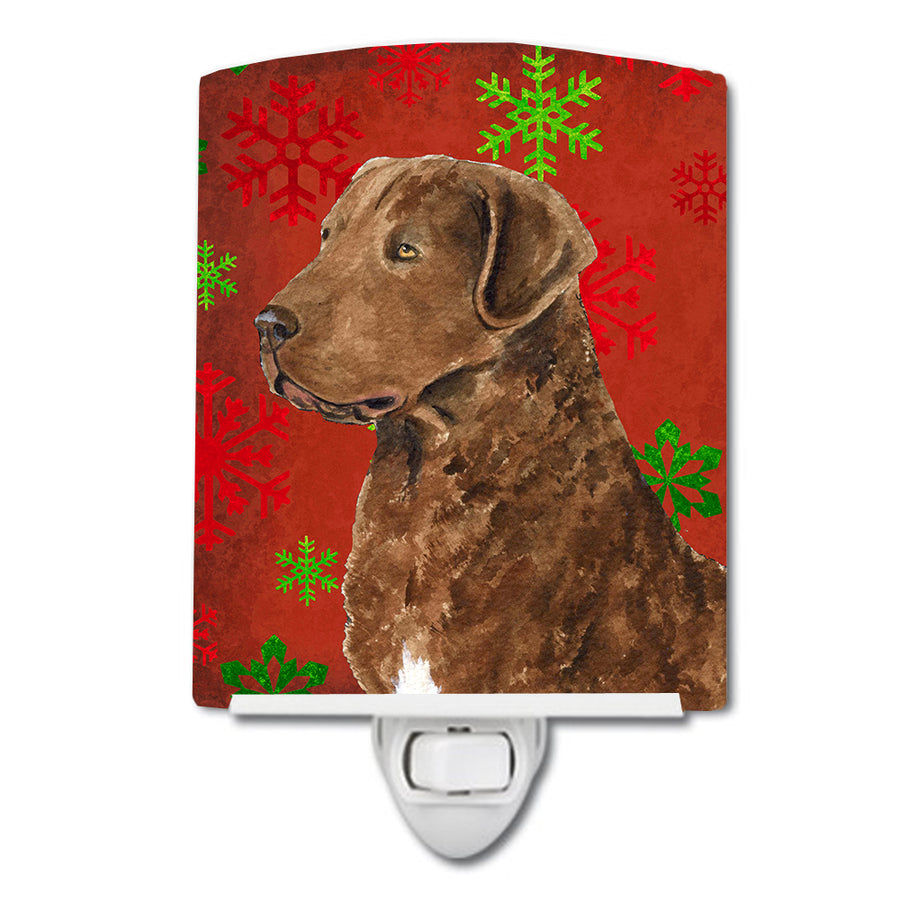 Buy this Chesapeake Bay Retriever Red Snowflakes Holiday Christmas Ceramic Night Light SS4738CNL