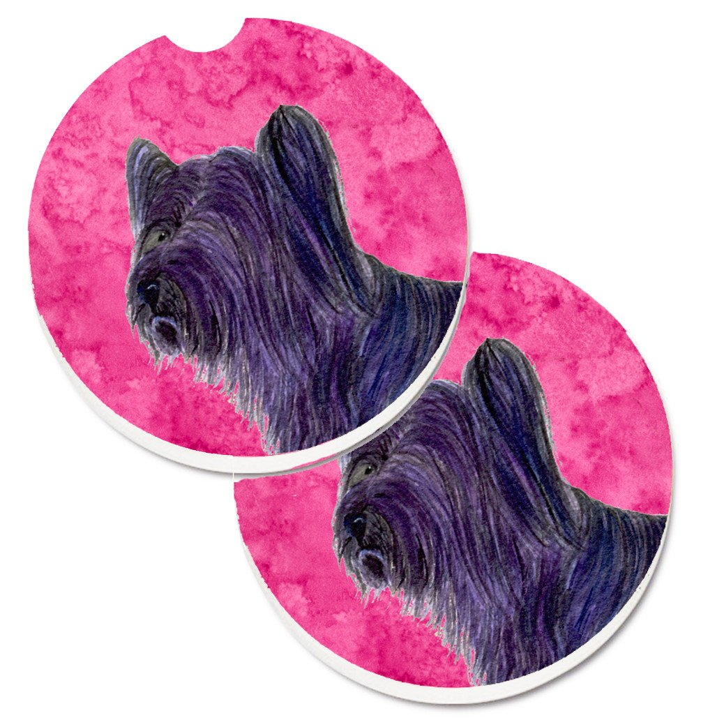 Buy this Pink Skye Terrier Set of 2 Cup Holder Car Coasters SS4739-PKCARC