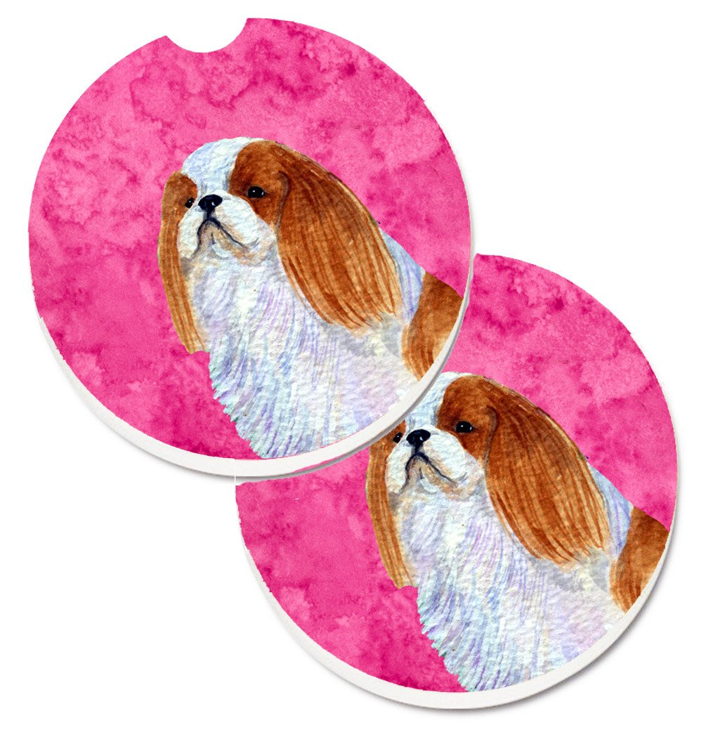 Pink English Toy Spaniel Set of 2 Cup Holder Car Coasters SS4783-PKCARC by Caroline's Treasures