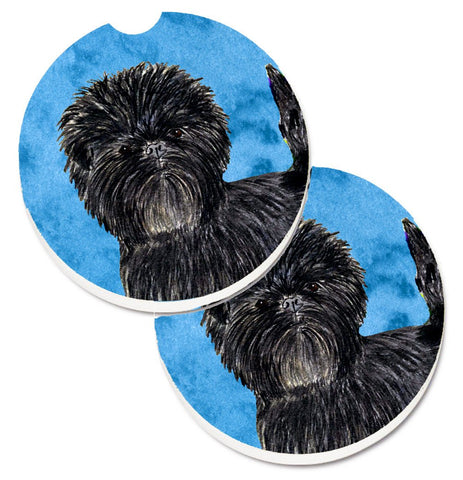 Buy this Blue Affenpinscher Set of 2 Cup Holder Car Coasters SS4787-BUCARC