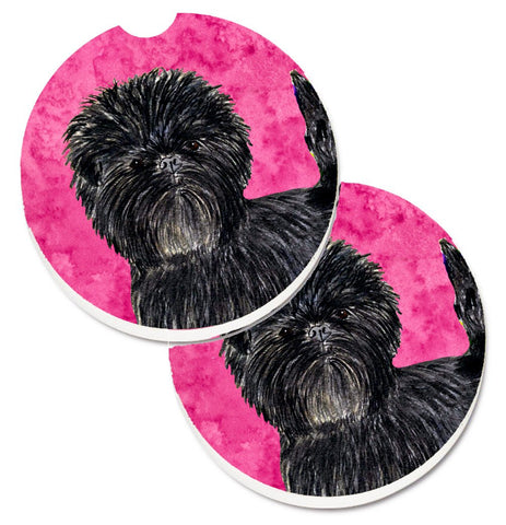 Buy this Pink Affenpinscher Set of 2 Cup Holder Car Coasters SS4787-PKCARC