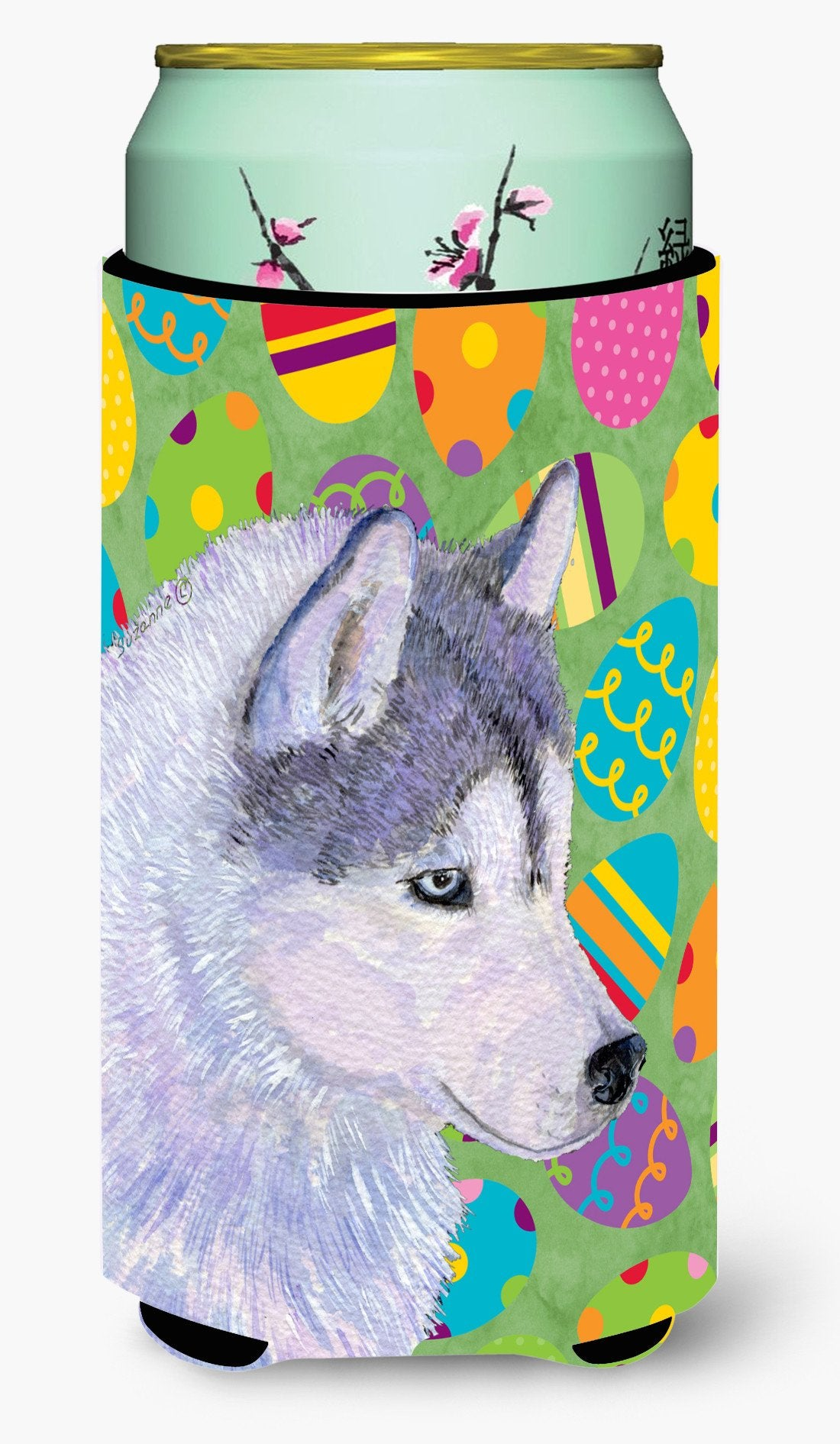 Siberian Husky Easter Eggtravaganza  Tall Boy Beverage Insulator Beverage Insulator Hugger by Caroline's Treasures