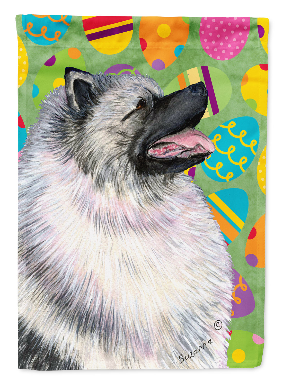 Buy this Keeshond Easter Eggtravaganza Flag Garden Size