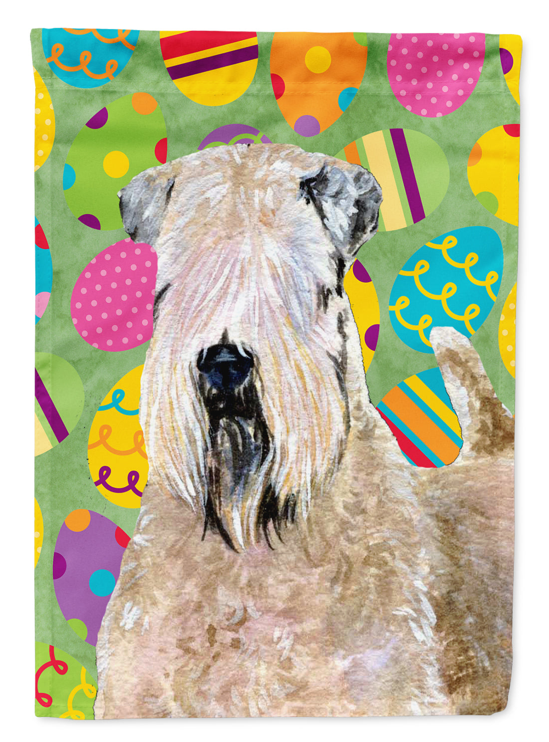 Buy this Wheaten Terrier Soft Coated Easter Eggtravaganza Flag Garden Size