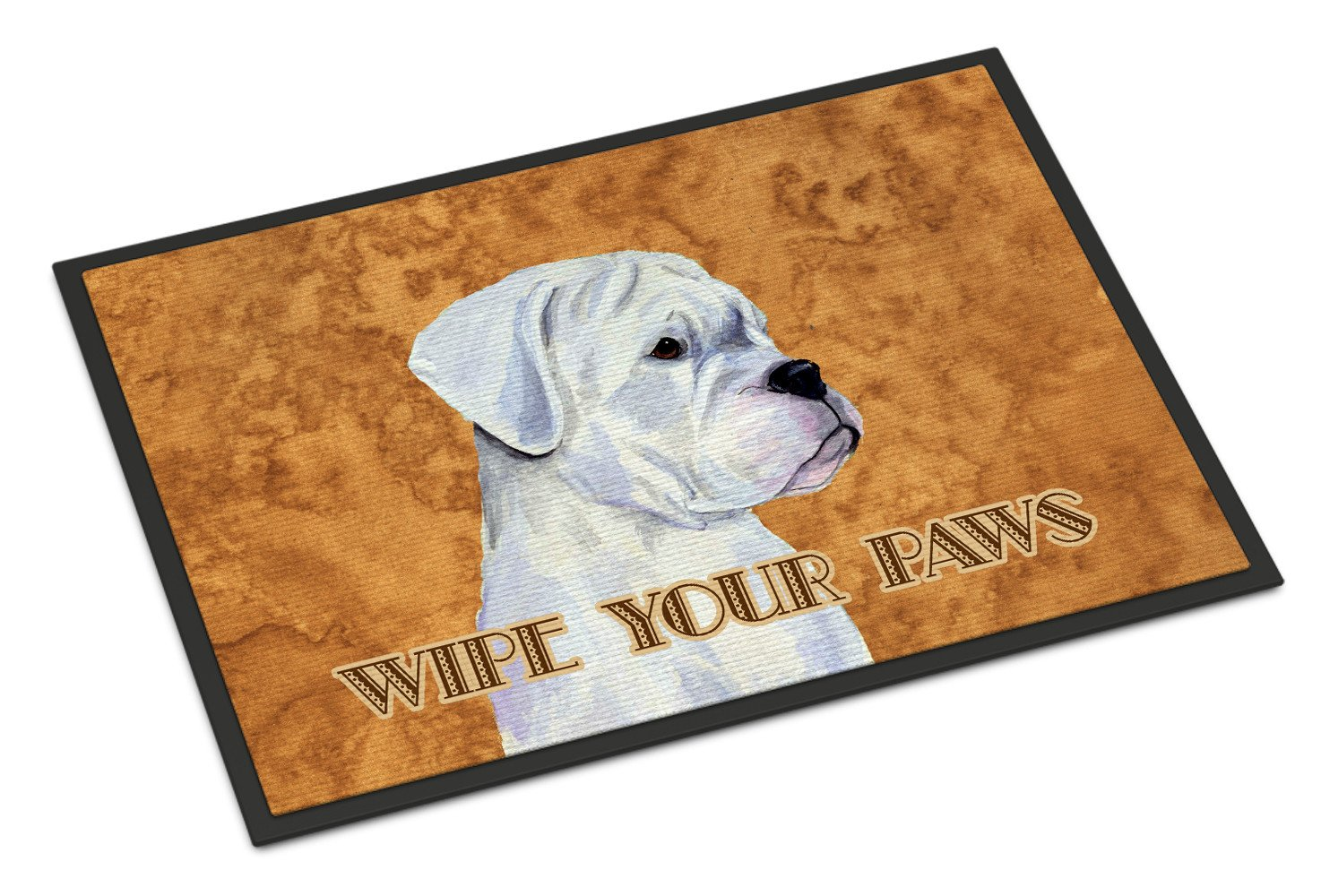 White Boxer Wipe your Paws Indoor or Outdoor Mat 18x27 SS4887MAT - the-store.com