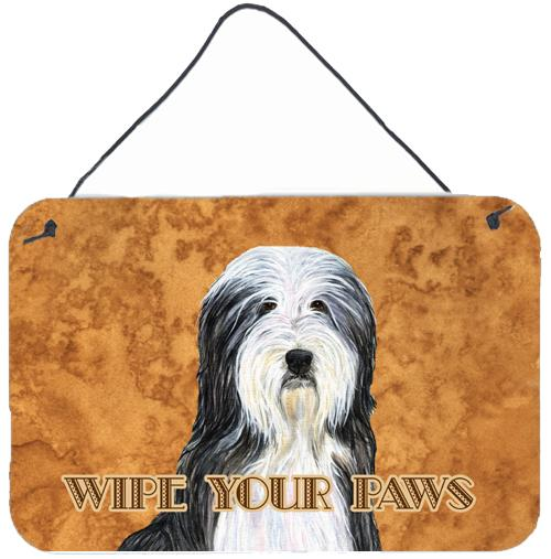 Buy this Bearded Collie Wipe your Paws Aluminium Metal Wall or Door Hanging Prints