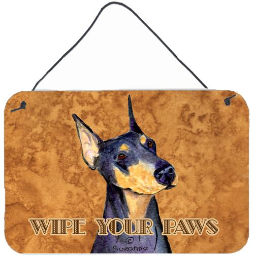 Black and Tan Doberman Wipe your Paws Wall or Door Hanging Prints by Caroline's Treasures