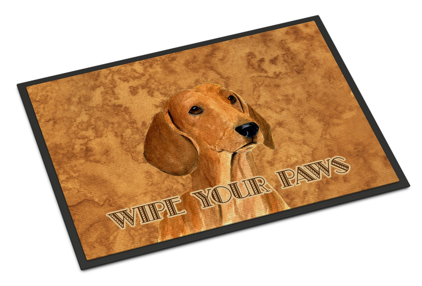Red Dachshund Wipe your Paws Indoor or Outdoor Mat 18x27 SS4895MAT - the-store.com
