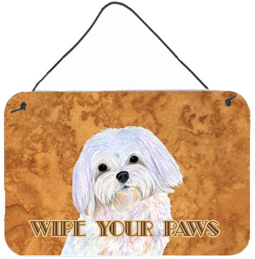 Puppy Cut Maltese Wipe your Paws Aluminium Metal Wall or Door Hanging Prints by Caroline's Treasures