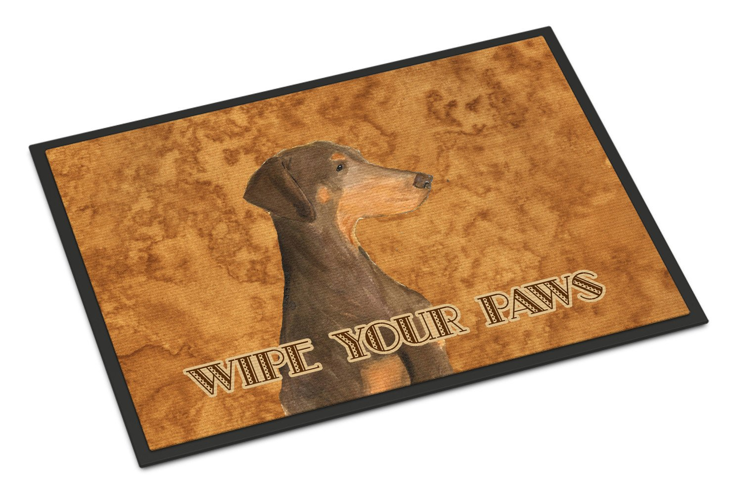 Chocolate Natural Eared Doberman Wipe your Paws Indoor or Outdoor Mat 18x27 - the-store.com