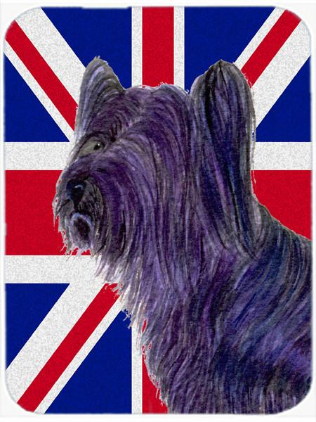 Skye Terrier with English Union Jack British Flag Glass Cutting Board Large Size SS4905LCB by Caroline's Treasures