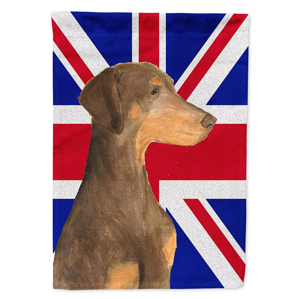 Doberman Natural Ears with English Union Jack British Flag Flag Garden Size by Caroline's Treasures