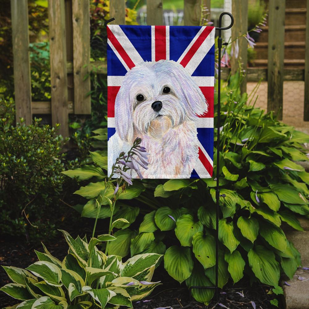 Maltese with English Union Jack British Flag Flag Garden Size SS4924GF by Caroline's Treasures
