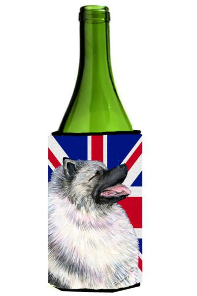 Keeshond with English Union Jack British Flag Wine Bottle Beverage Insulator Hugger SS4930LITERK by Caroline's Treasures