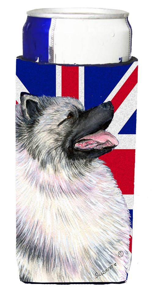 Keeshond with English Union Jack British Flag Ultra Beverage Insulators for slim cans SS4930MUK by Caroline's Treasures