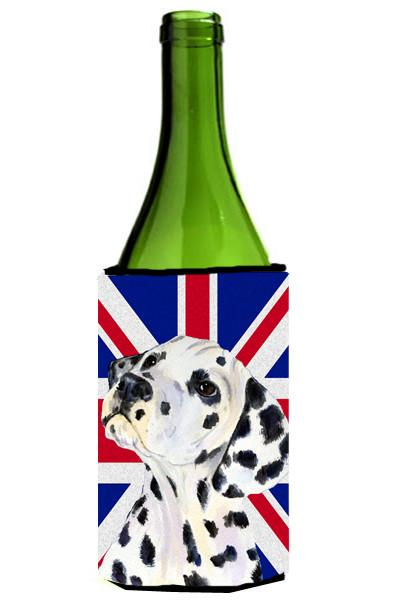 Dalmatian with English Union Jack British Flag Wine Bottle Beverage Insulator Hugger SS4934LITERK by Caroline's Treasures