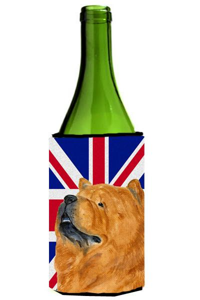 Chow Chow with English Union Jack British Flag Wine Bottle Beverage Insulator Hugger SS4944LITERK - the-store.com
