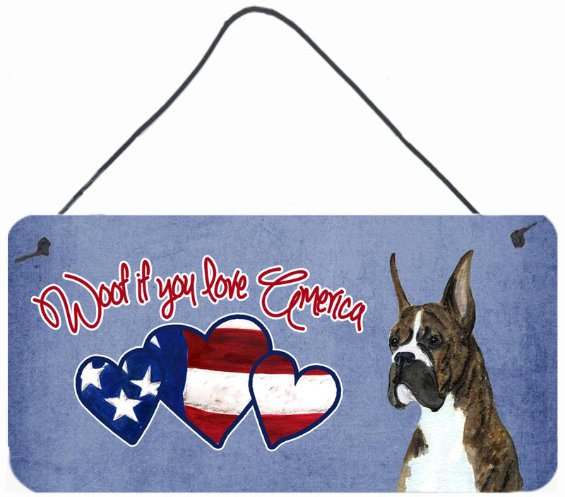 Buy this Woof if you love America Brindle Cropped Boxer Wall or Door Hanging Prints