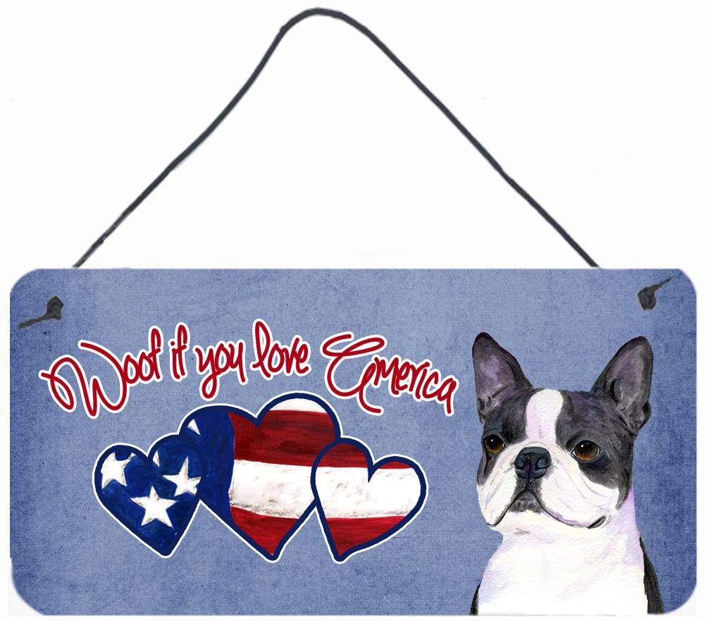 Buy this Woof if you love America Boston Terrier Wall or Door Hanging Prints SS5027DS612