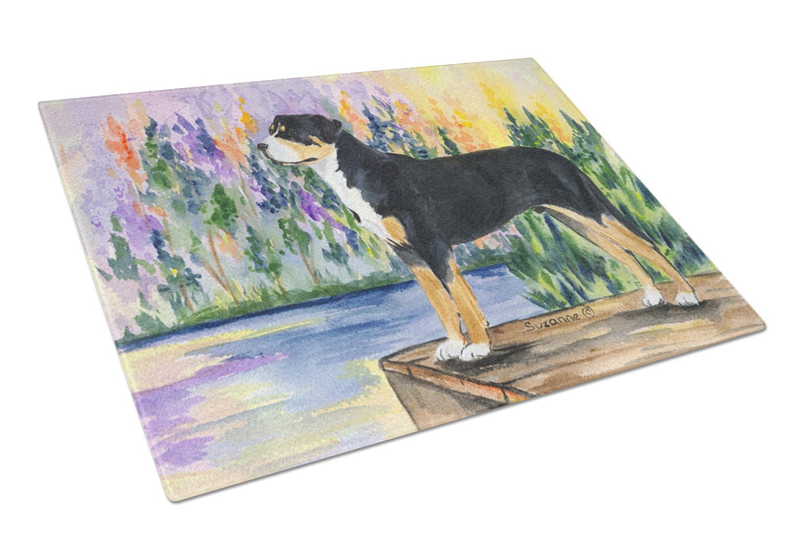 Greater Swiss Mountain Dog Glass Cutting Board Large by Caroline's Treasures