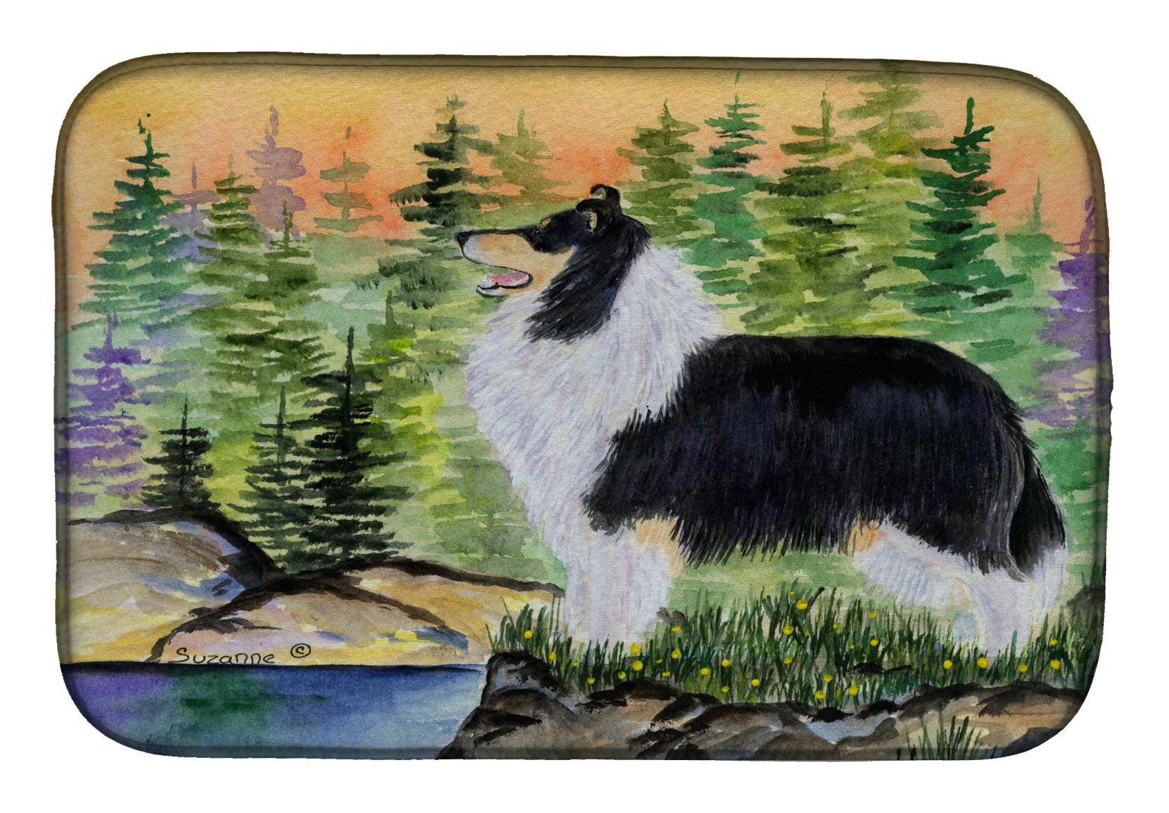 Collie Dish Drying Mat SS8203DDM by Caroline's Treasures