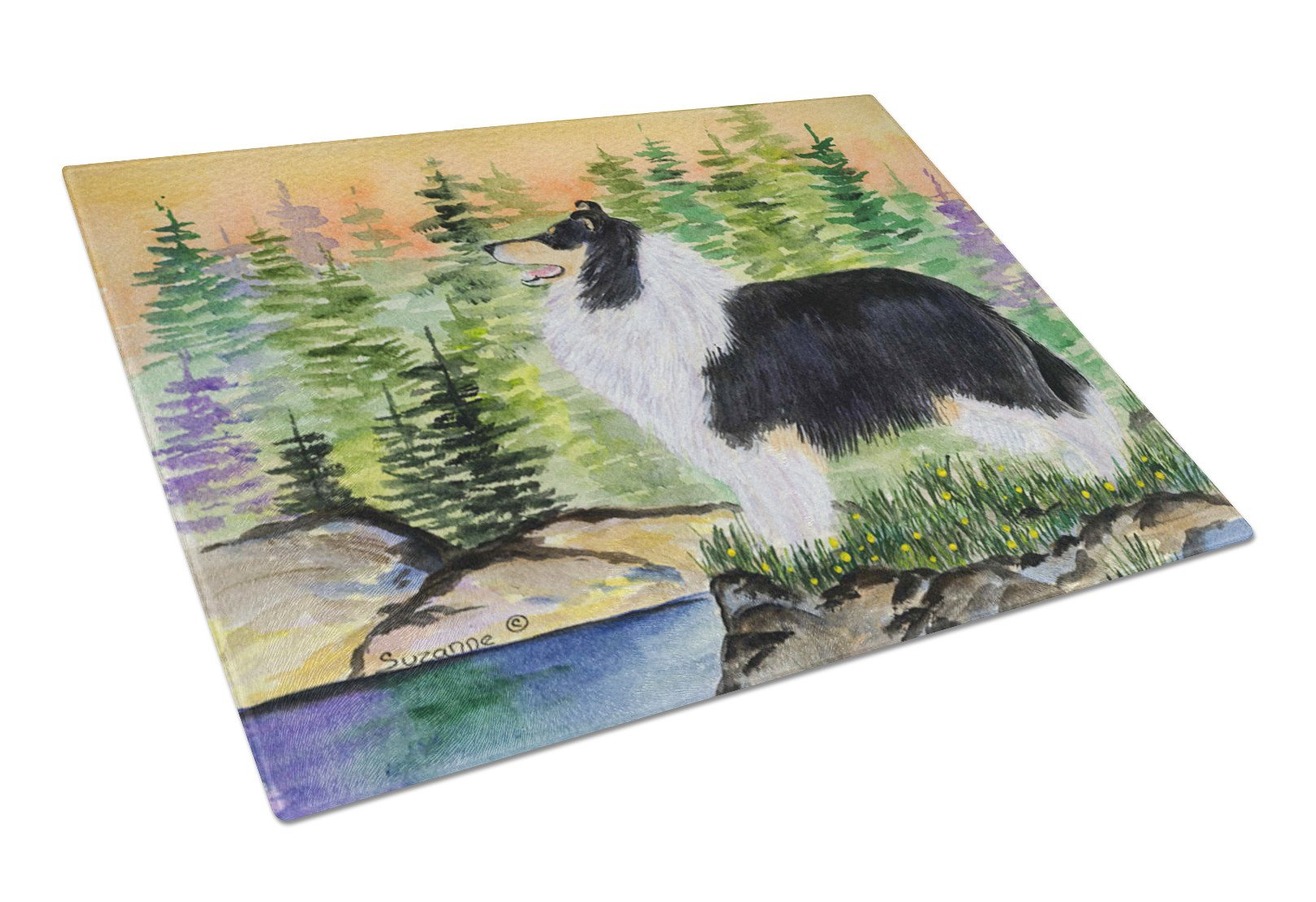 Collie Glass Cutting Board Large by Caroline's Treasures