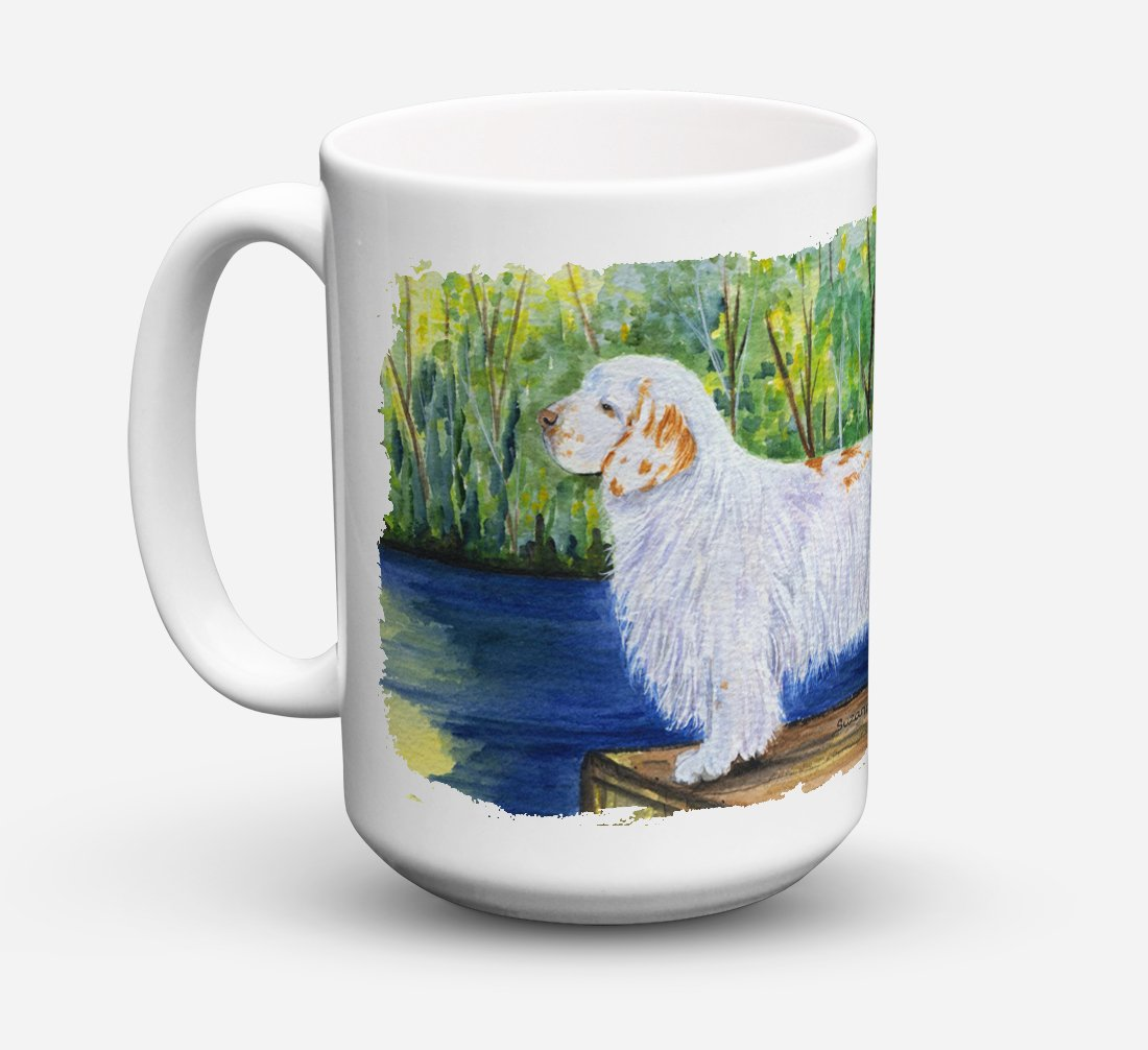 Clumber Spaniel Dishwasher Safe Microwavable Ceramic Coffee Mug 15 ounce SS8261CM15 by Caroline's Treasures