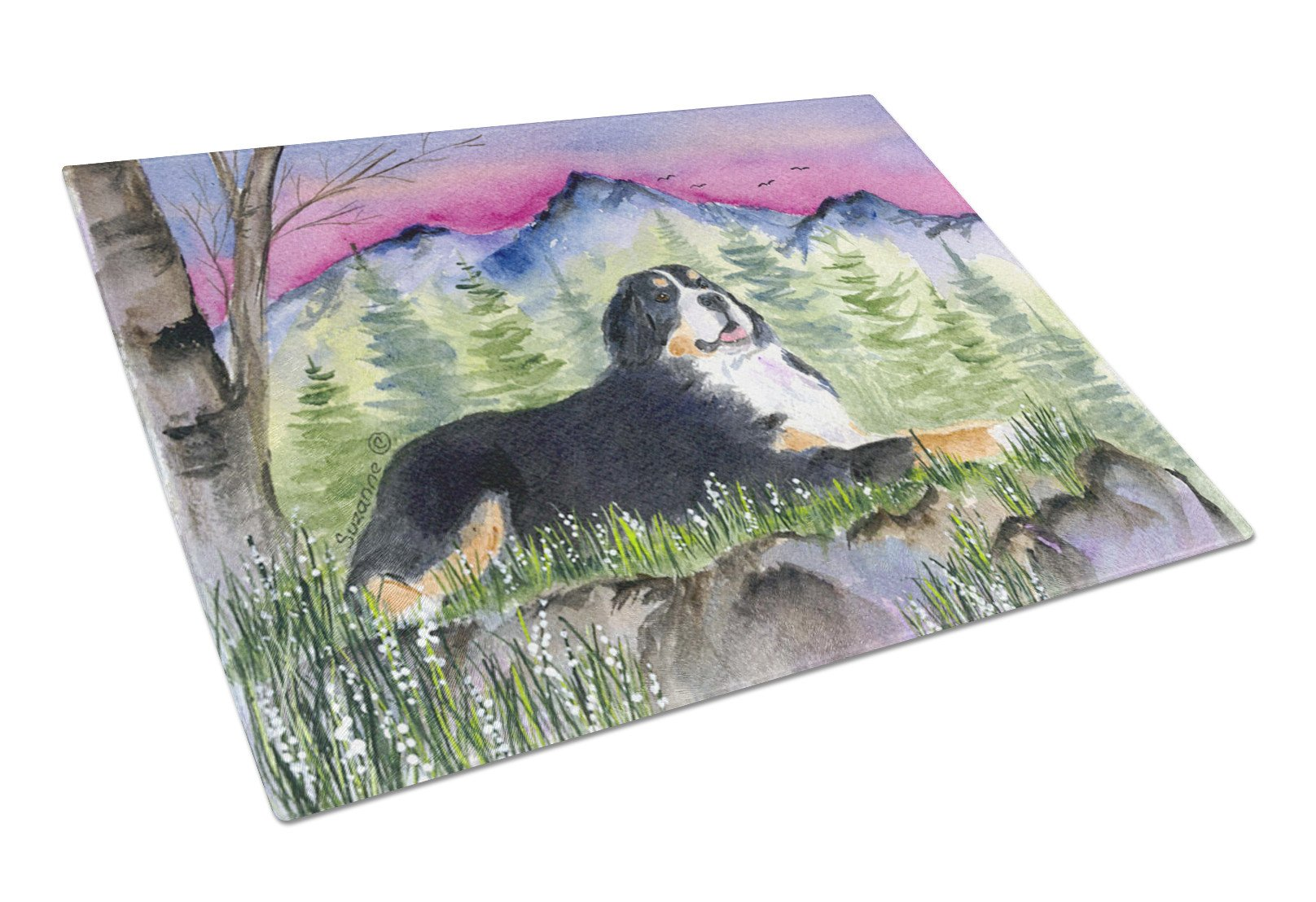 Bernese Mountain Dog Glass Cutting Board Large by Caroline's Treasures