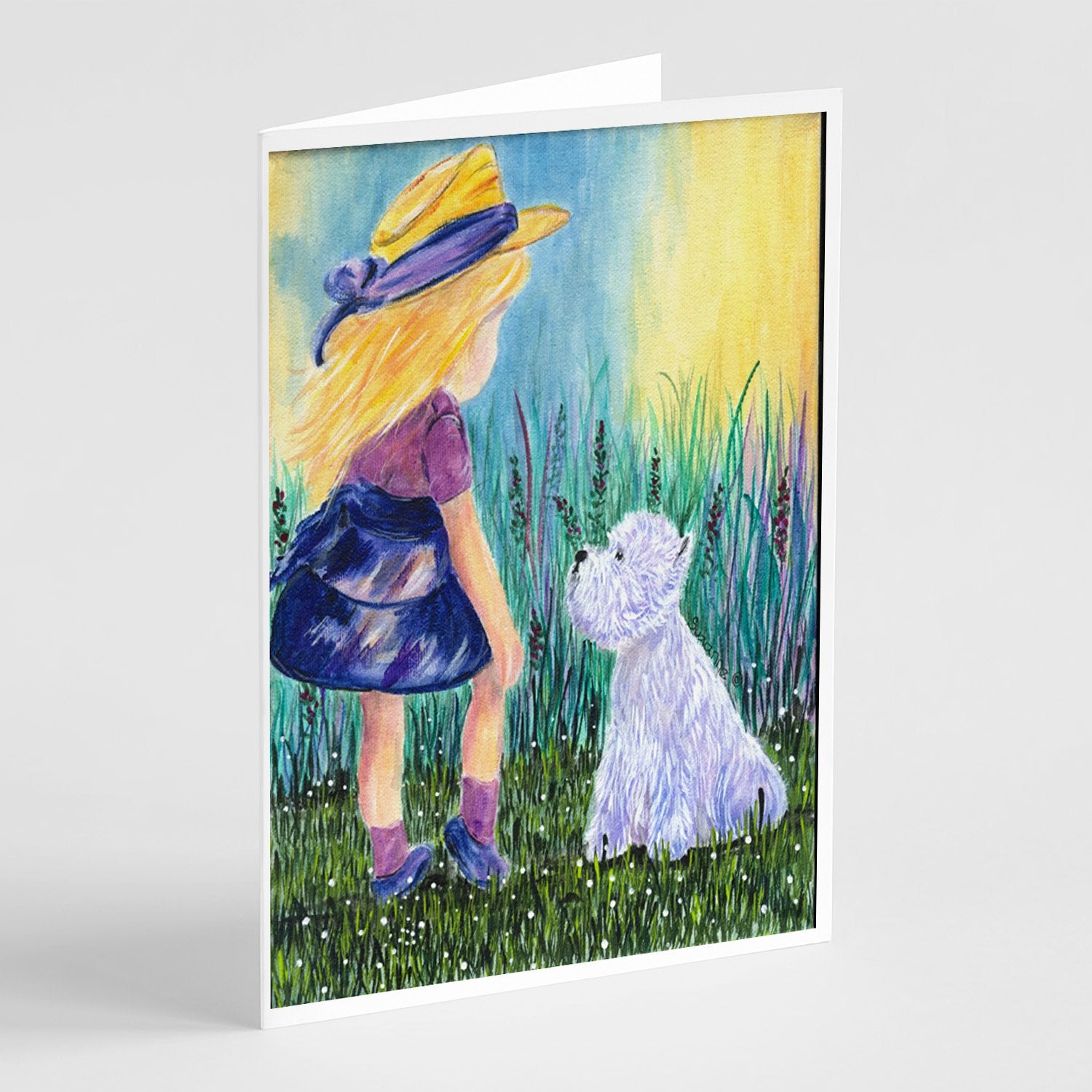 Buy this Little Girl with Westie Greeting Cards and Envelopes Pack of 8
