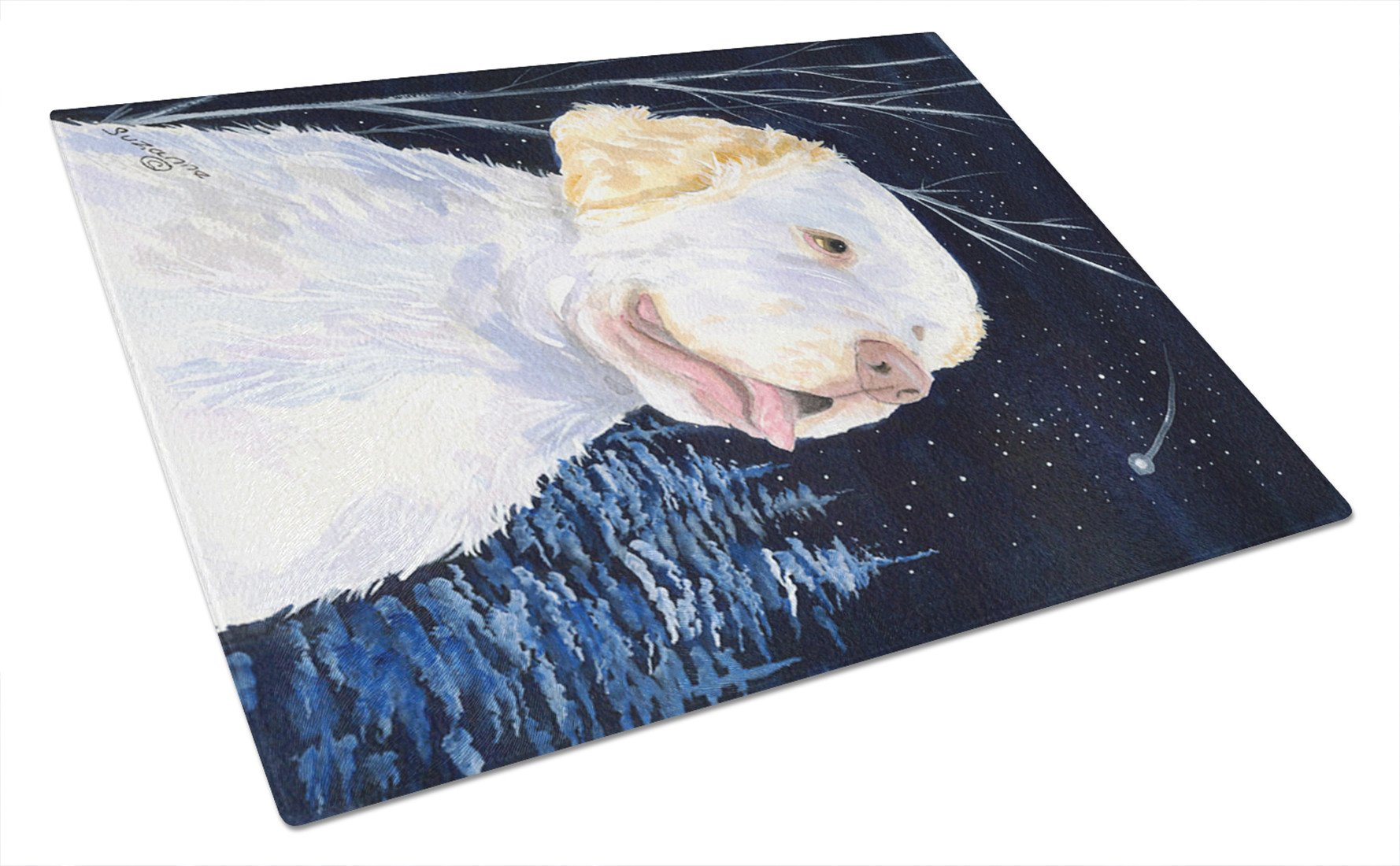 Starry Night Clumber Spaniel Glass Cutting Board Large by Caroline's Treasures