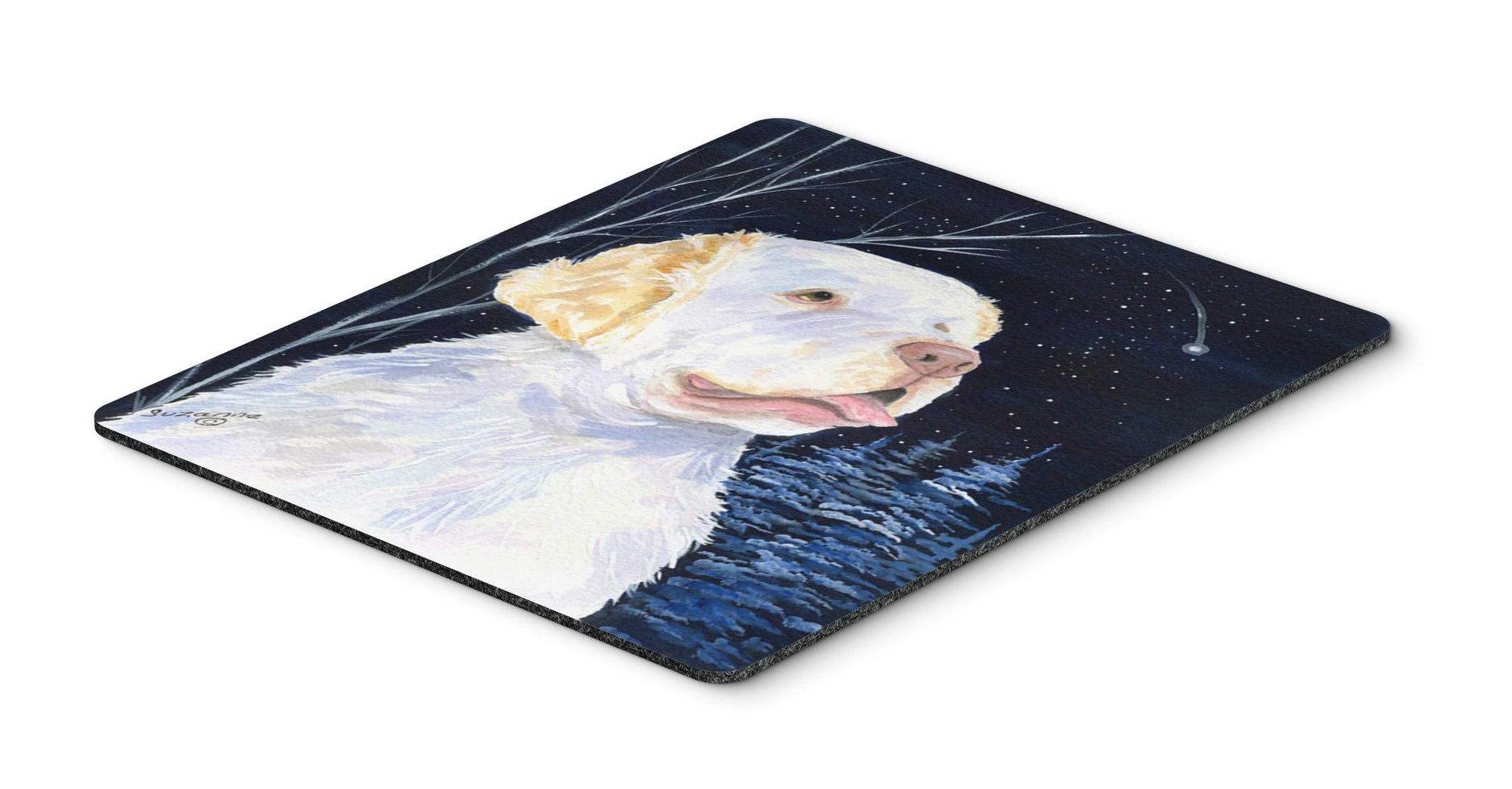 Starry Night Clumber Spaniel Mouse Pad / Hot Pad / Trivet by Caroline's Treasures