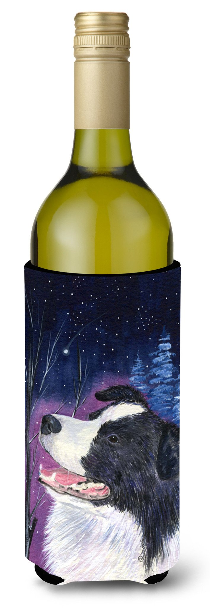 Starry Night Border Collie Wine Bottle Beverage Insulator Beverage Insulator Hugger by Caroline's Treasures