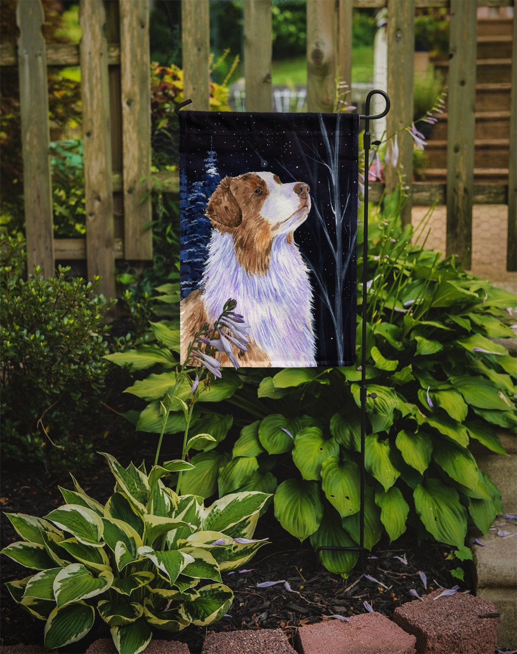 Starry Night Australian Shepherd Flag Garden Size by Caroline's Treasures